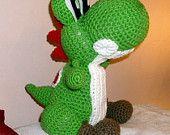 Amigurumi Nintendo : Handmade crochet yoshi amigurumi nintendo collectible plushie by