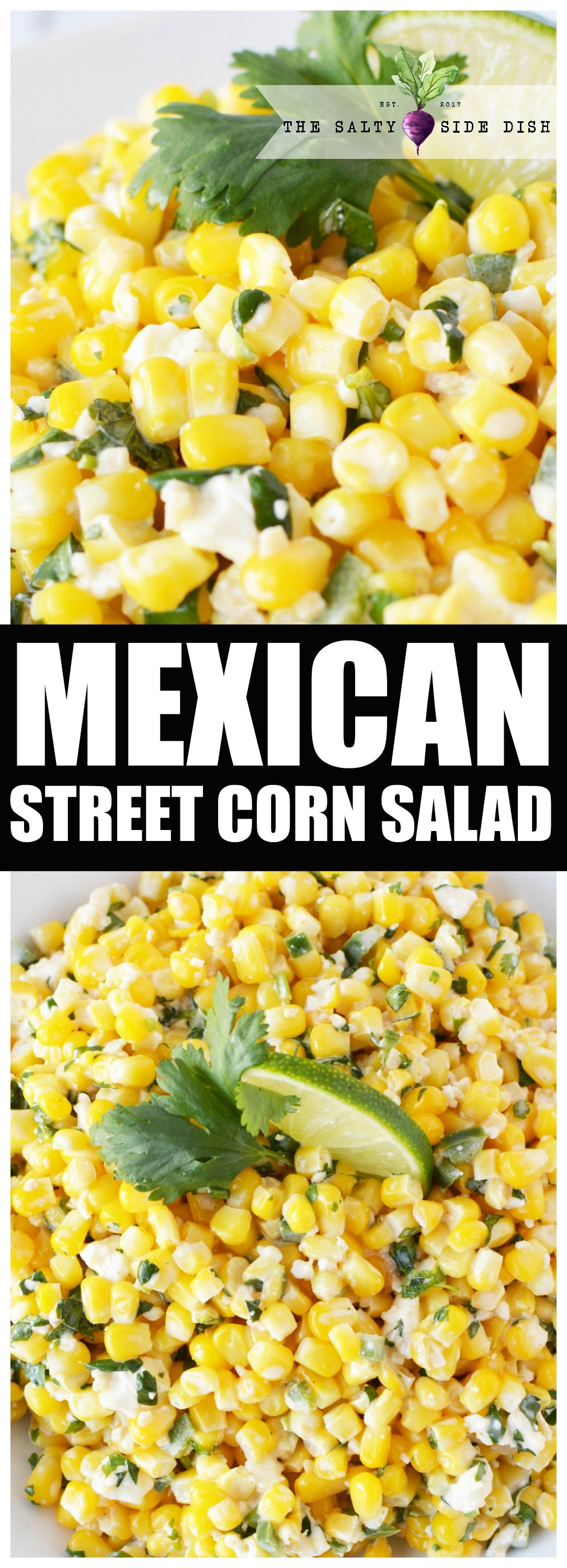 Mexican Street Corn Salad | Mexican Street Corn Salad skips the taco truck and lands a perfect corn side dish right on your plate. Under 15 minutes for a tangy simple salad that is perfect for pot luck. #tacosidedishes