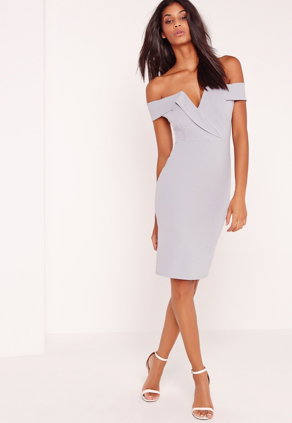 Dresses for guests at a beach wedding  Missguided  Bardot Plunge Midi Dress Grey  Wardrobe  Pinterest