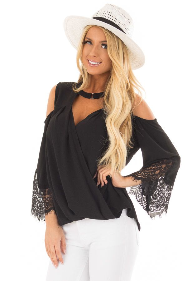 cd3115c7d5bb2 Lime Lush Boutique - Black Surplice Cold Shoulder Blouse with Chest Cutout