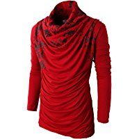 H2H Mens Casual Slim fit Fashionable Designed Shirring Long Sleeve T-shirts