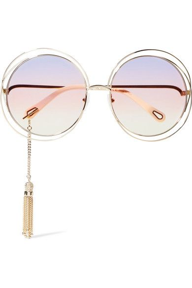 2904e1413d87 Gold-tone metal, cream acetate Come in a designer-stamped pouch 100% UV  protection Made in Italy
