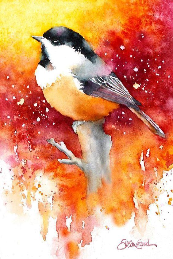 Mesange A L Aquarelle Watercolor Bird Watercolor Art Birds
