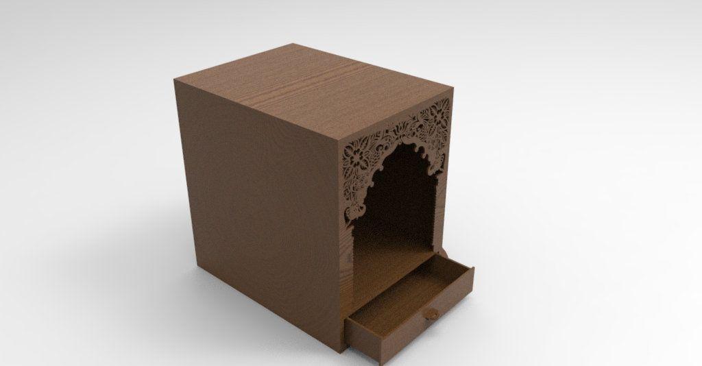 Pooja Cabinet Laser cut, Small home Mandir for Hindus   Laser cut
