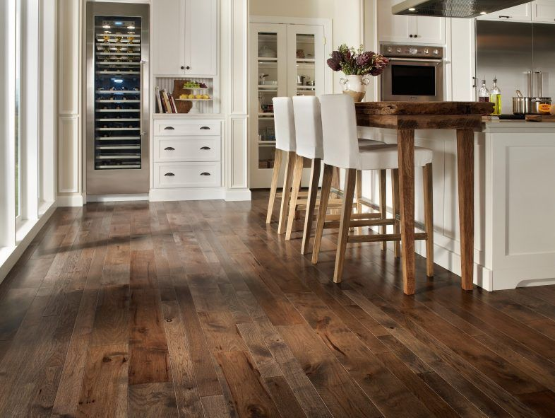 Enticing Dark Stained Hickory Wood Kitchen Flooring
