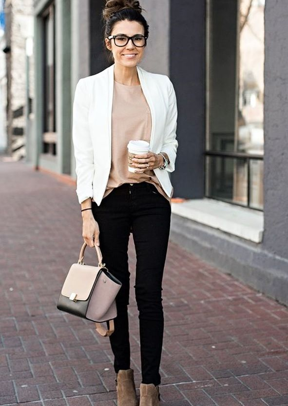125f520d5041 04 black jeans, a blush top, a white blazer and tan suede boots ...