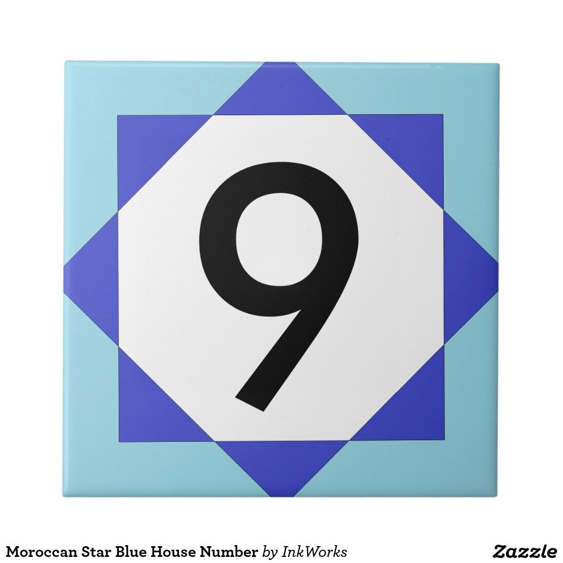 Moroccan star blue house number ceramic tile number and letter moroccan star blue house number ceramic tile dailygadgetfo Choice Image