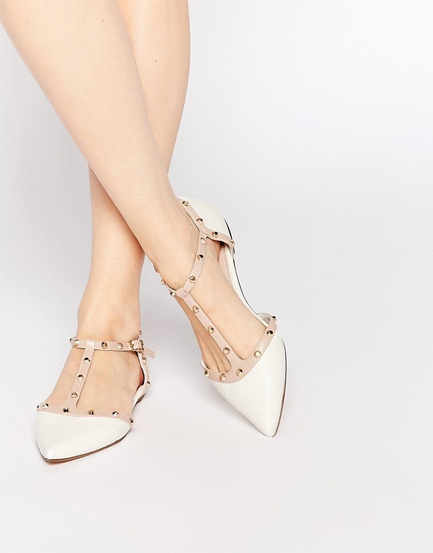Dune Heti White Stud Pointed Flat Shoes at asos.com