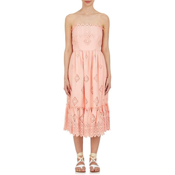f17e8fe0f3e7 Sea Women's Cotton Eyelet Strapless Dress ($435) ❤ liked on Polyvore  featuring dresses, pink, smocked strapless dress, shirred dress, smocked  dresses, ...