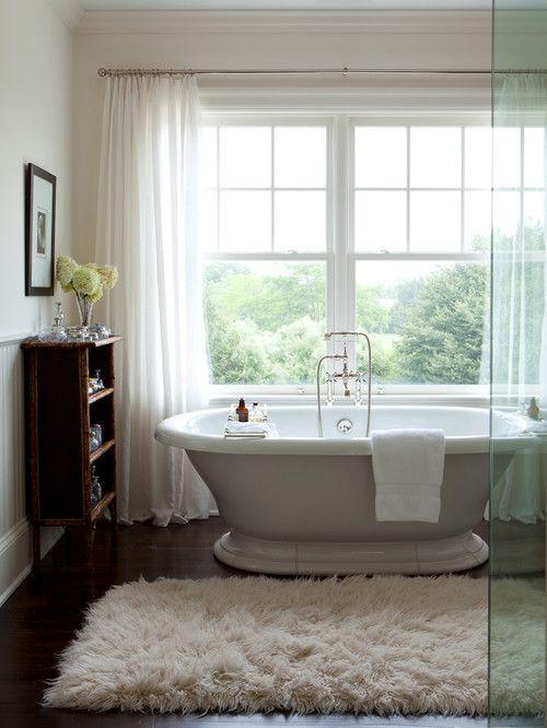 sheer curtains fluffy run bath tub bathroom interior design decor
