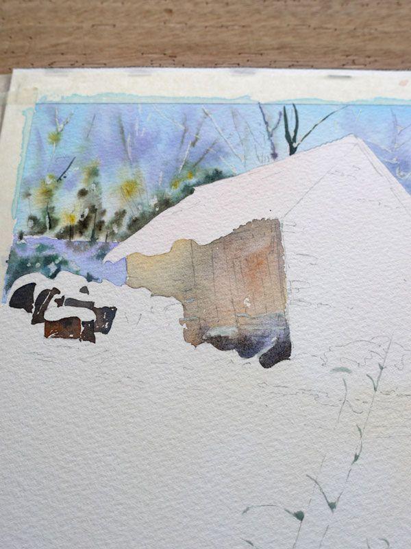 Aquarelle Watercolor Baraque Neige 14 Tutoriels Peinture