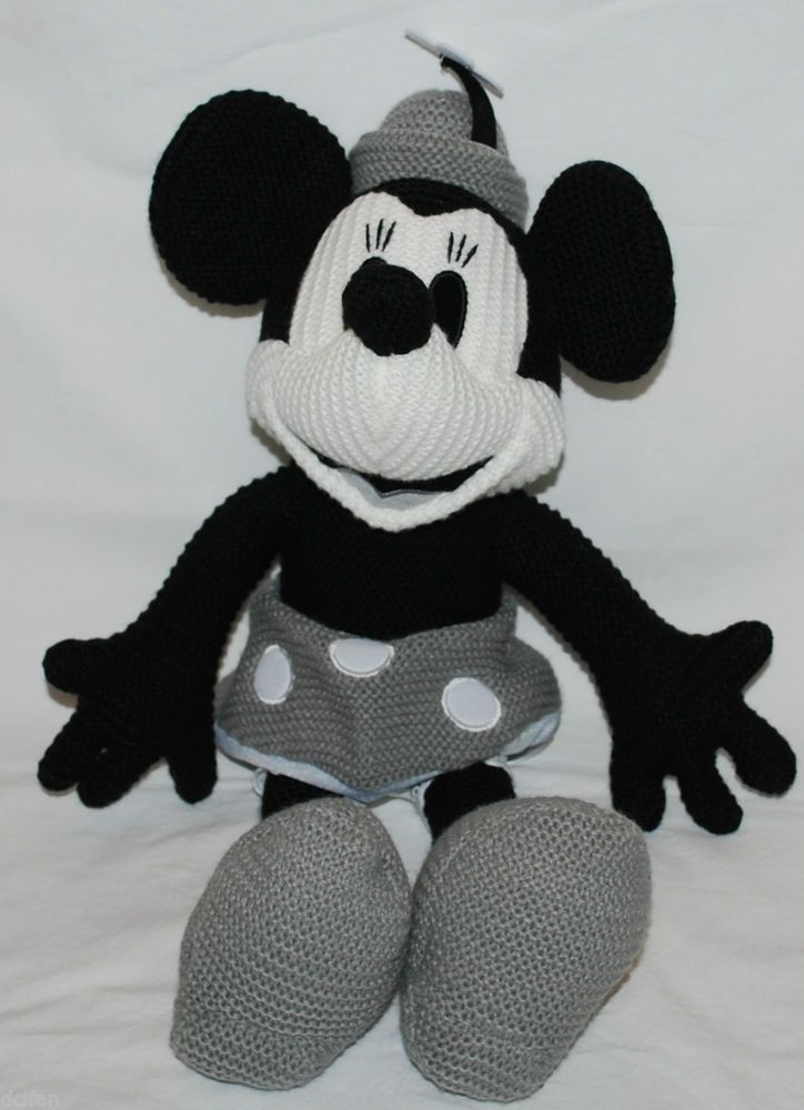Disney Parks Minnie Mouse Steamboat Black White Crochet Knit 16