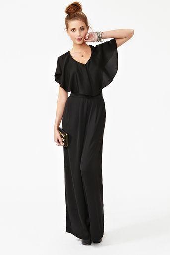 e4f90b010d34 loving this black  jumpsuit   black heels   bag    gold jewelry ...