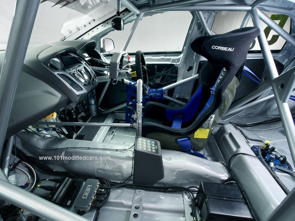 Modified ford forucs hatchback mkiii 3rd generation btcc british touring car championship interior dashboard on bare bone chassis with bespoke steel