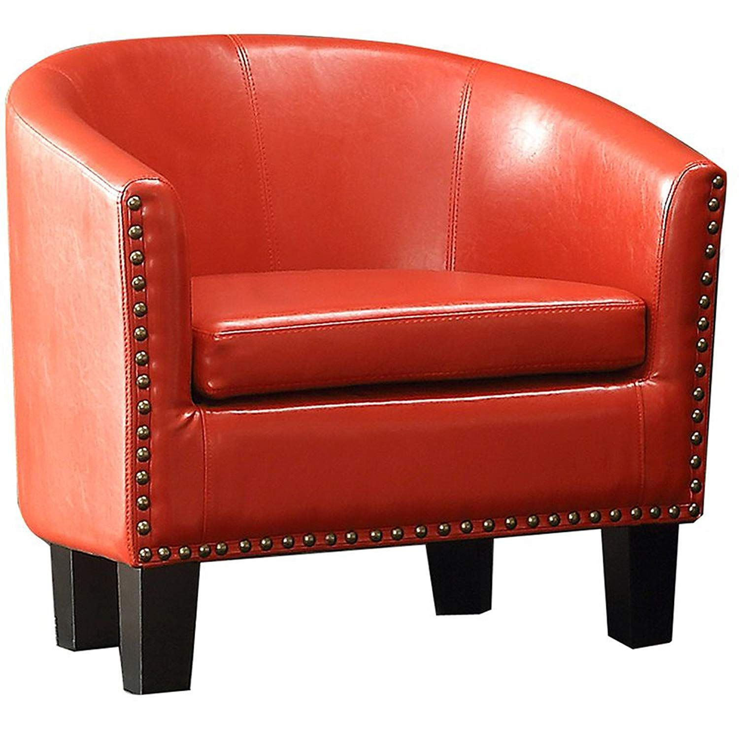 Leather Upholstered Armchair Barrel Back Contemporary