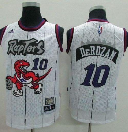 online retailer 4203d 8fc94 Raptors #10 DeMar DeRozan White Throwback Youth Stitched NBA ...