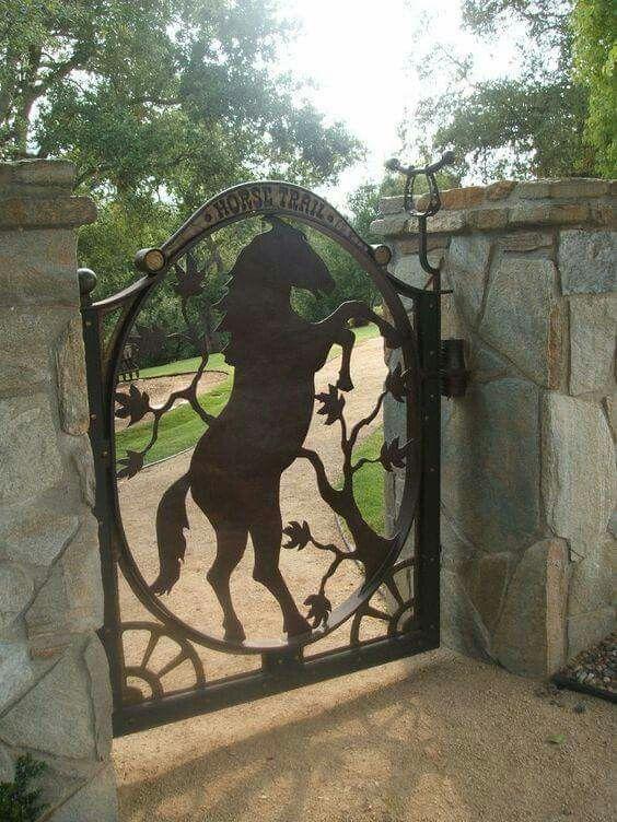 Gatecopperhorseinstalled Jpg 450 337 Iron Gate Wrought Iron