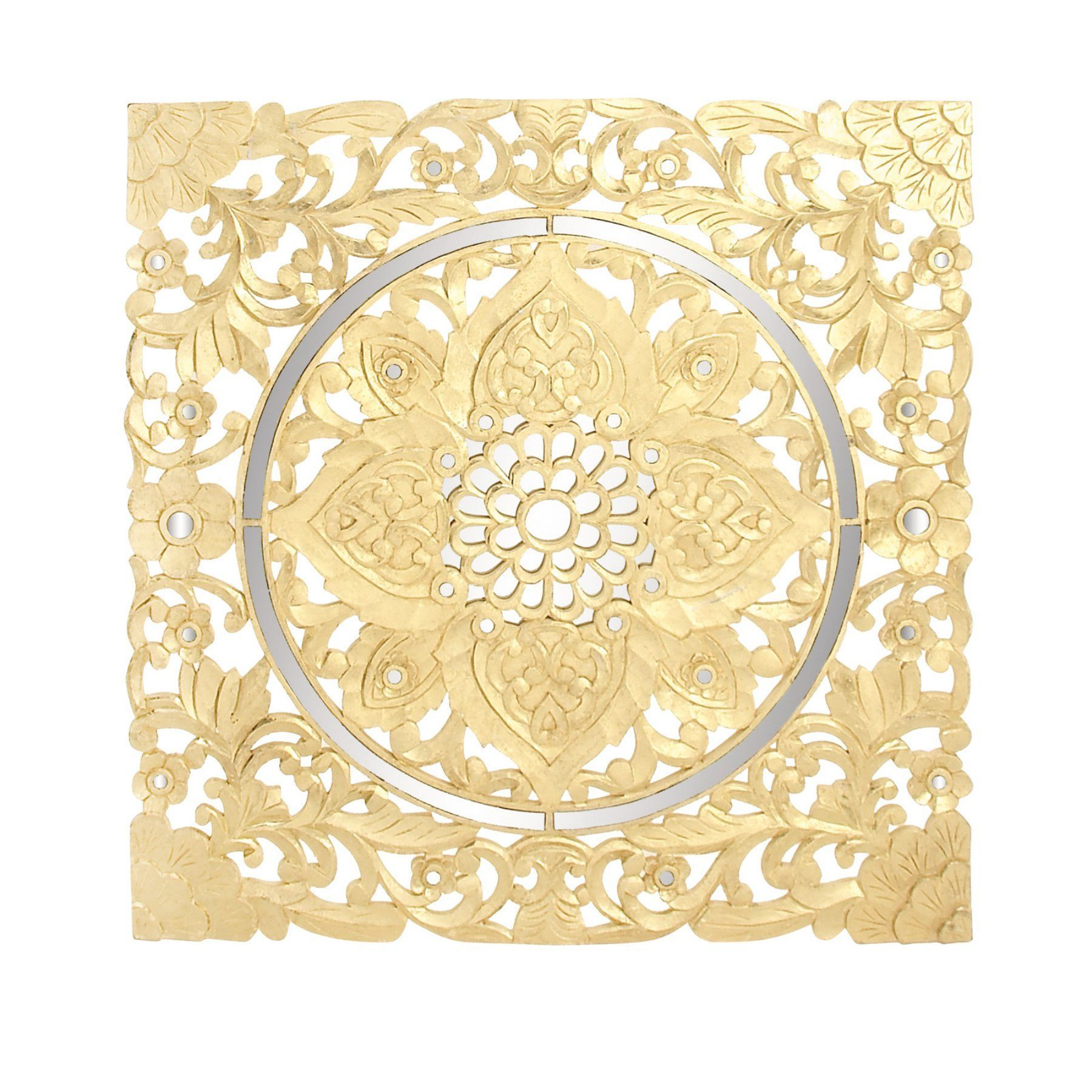 DecMode 47 in. Square Gold Finish Wood Wall Panel with Circular ...