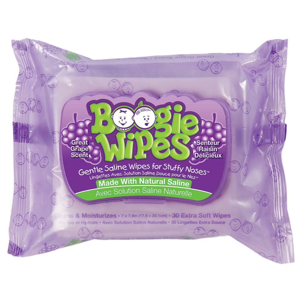 Boogie Wipes Gentle Saline Wipes For Stuffy Noses Grape 30 Wipes