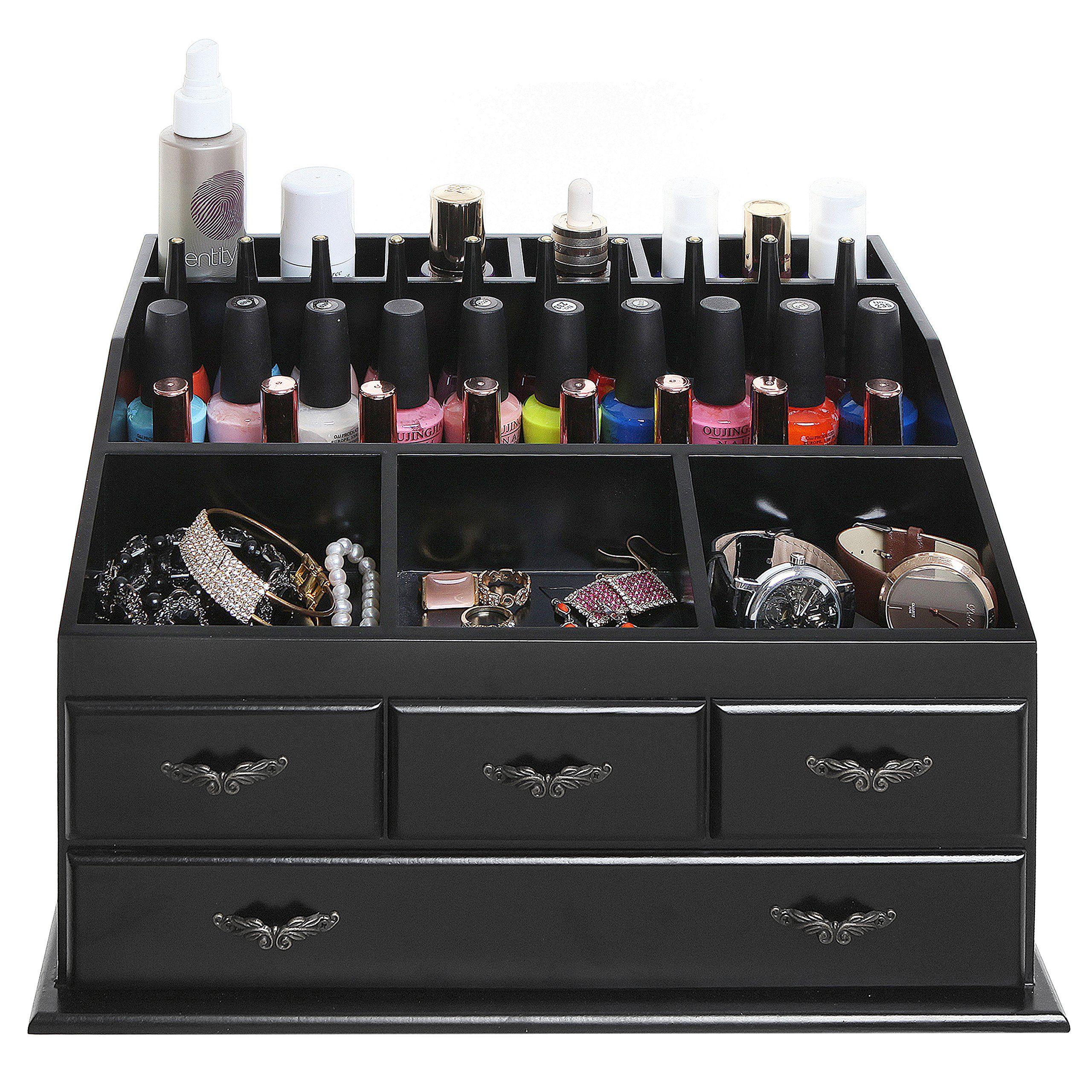 Wood Dresser Top Vanity Cosmetic Organizer Chest Box Countertop