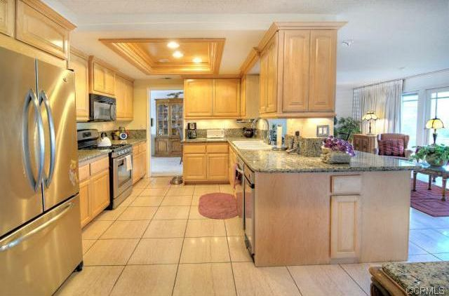 Traditional Kitchen With Amber Yellow Granite Countertop, U Shaped, Inset  Cabinets, Simple