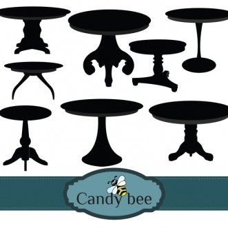 Tables Silhouette Digital Clipart Instant Download Digital Clip