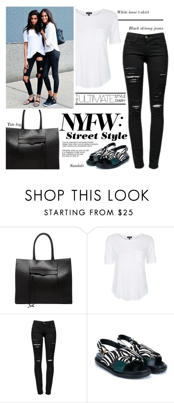 """""""NYFW: Ultimate Style"""" by pianogirlzoe ❤ liked on Polyvore featuring Rebecca Minkoff, Topshop, Frame Denim, Marni, StreetStyle, NYFW, casual and blackandwhite"""