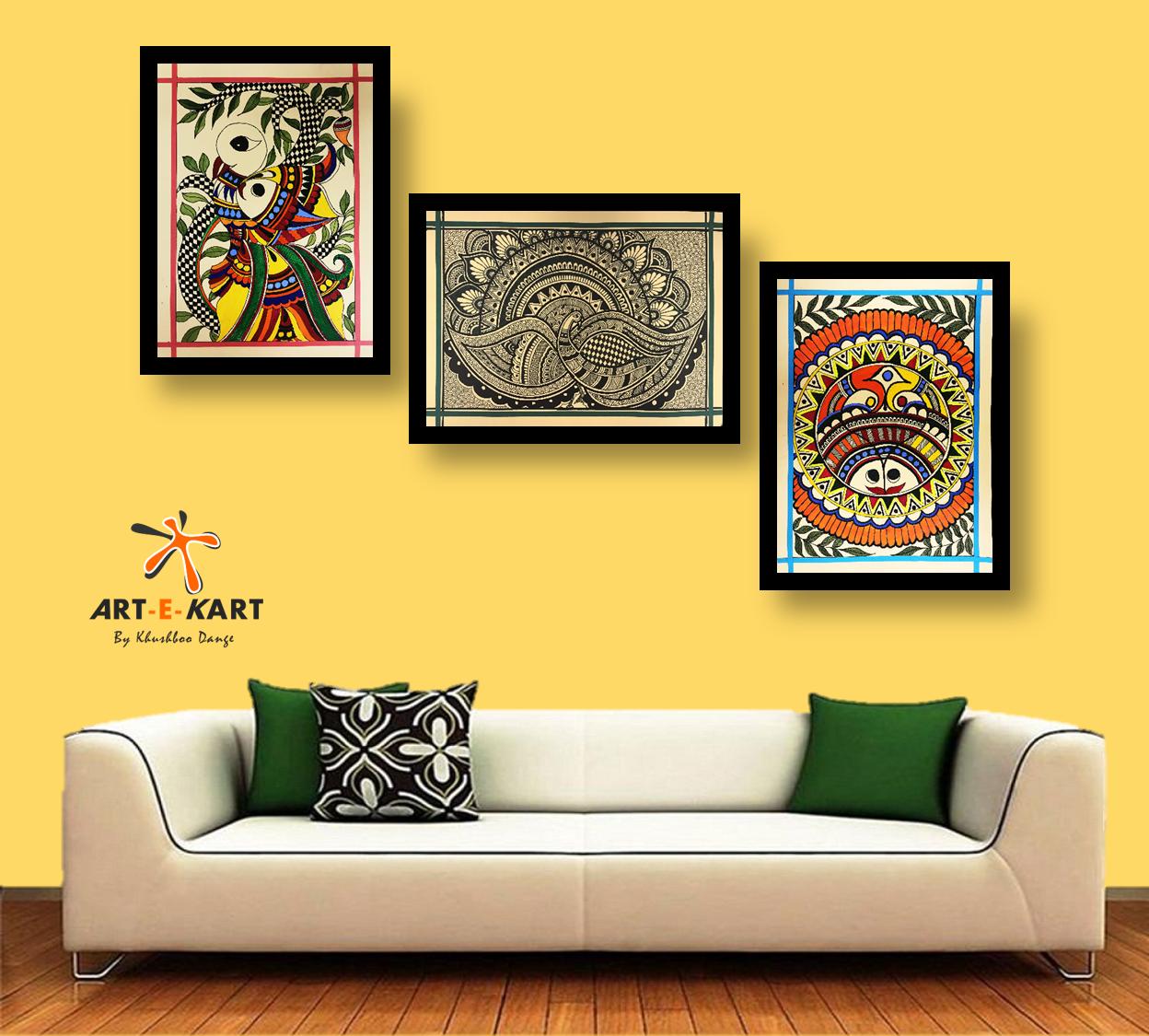 Madhubani paintingmithila painting set of folk arts in