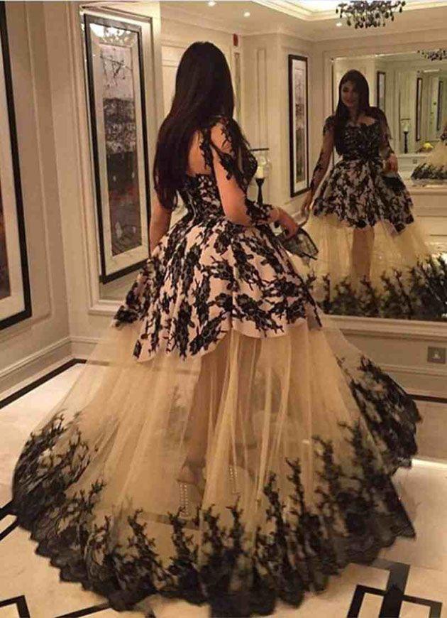 صور فساتين امل العوضي Evening Gown Dresses Long Sleeve Lace Evening Dress Prom Dresses