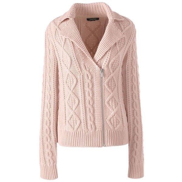 Lands  End Women s Petite Cable Moto Sweater Jacket ( 89) ❤ liked on  Polyvore featuring outerwear 8d071b3ad