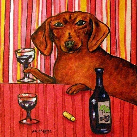 dachshund clarinet art PRINT gift JSCHMETZ 13x19  JSCHMETZ new