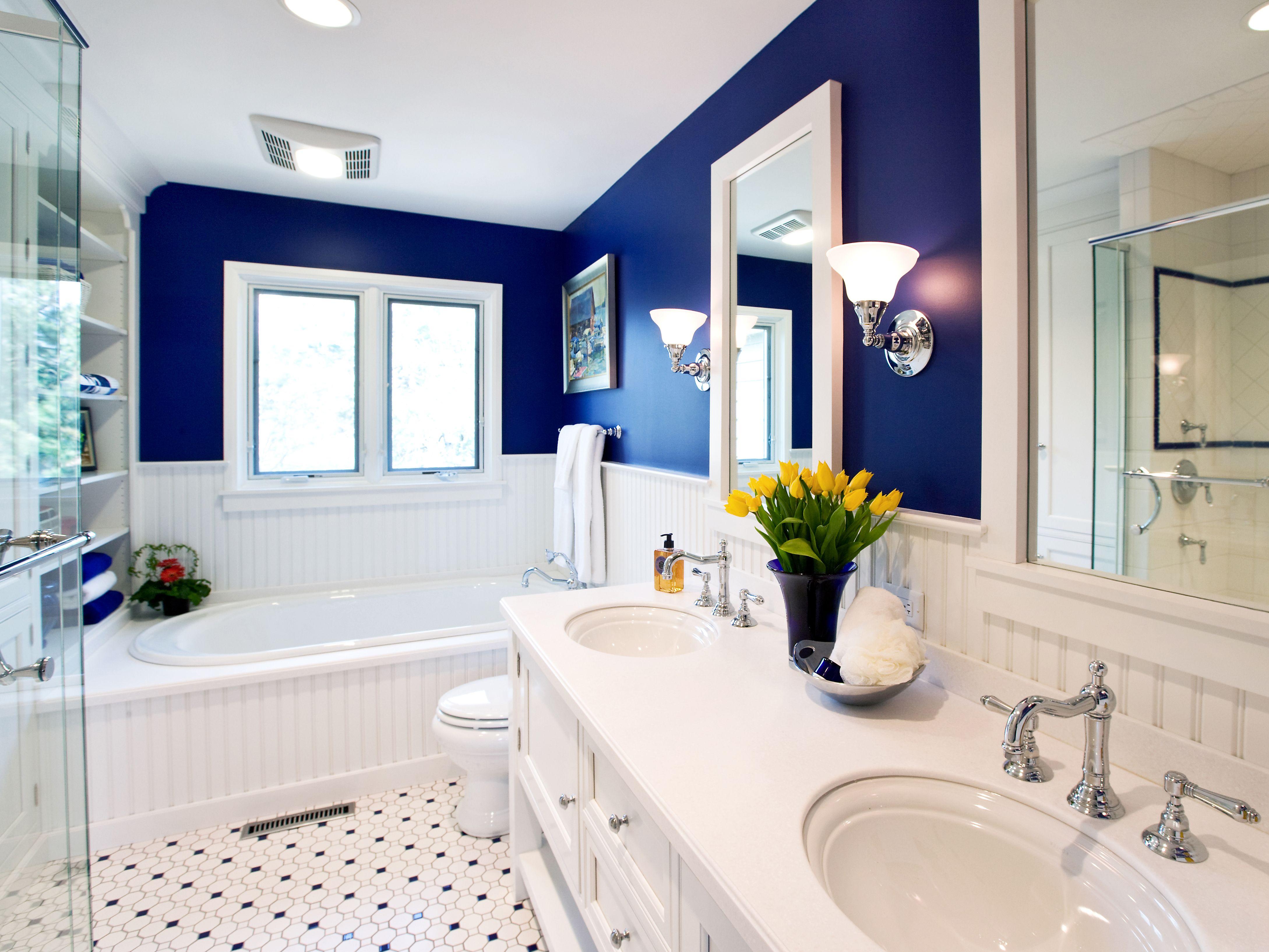Blue Bathroom Wall Tile Pinterest Spoty Tile Bathroom Floor Drk Blue Color Bathroom Wall Our Yellow Bathrooms Nautical Bathroom Decor Blue Bathroom Decor