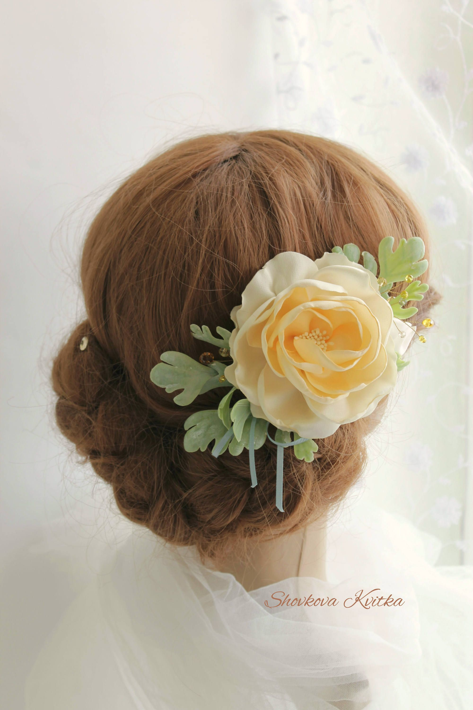 Yellow Floral Hair Clip Rustic Bridal Yellow Hair Flower Satin