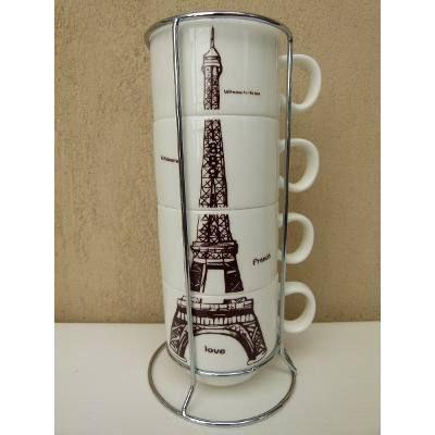 Juego De 4 Tazas De Cafe Porcelana C soporte Diseños Vintage Cafes - diseos vintage