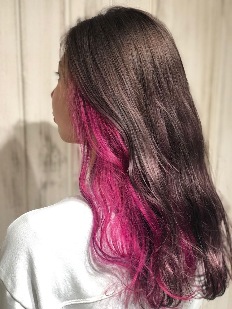 Under Hair Dyed Pink In 2020 Hair Color Streaks Hair Color Underneath Under Hair Dye