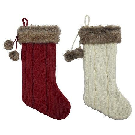 Red/Cream Fur Cable Knit Christmas Stocking (Assorted Styles ...