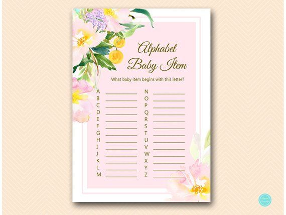 Pretty In Pink Baby Shower Games Abc Baby Item Game A To Z Baby