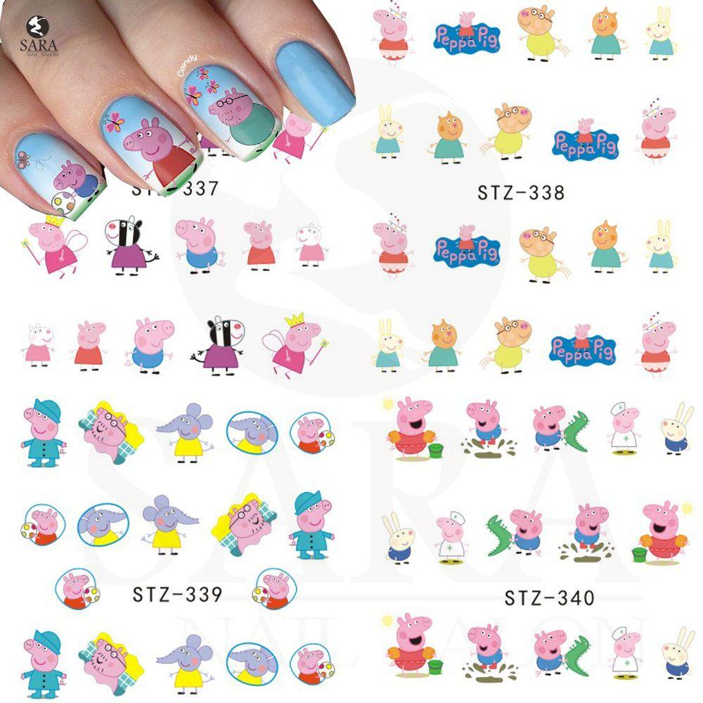 Sara Nagelstudio 1 stücke Nette Rosa Schweine Designs Nail art ...