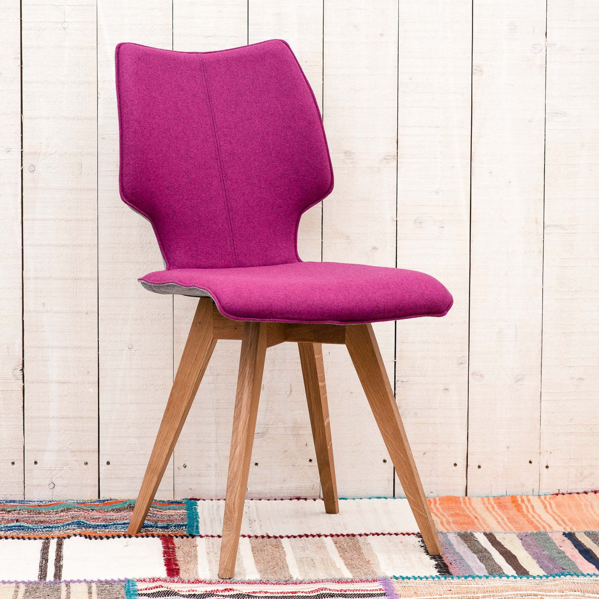 Clipper Felt Covered Chairs Cover Light Oak And Contemporary Dane Dine Folk Grey Dining Chair Fuchsia