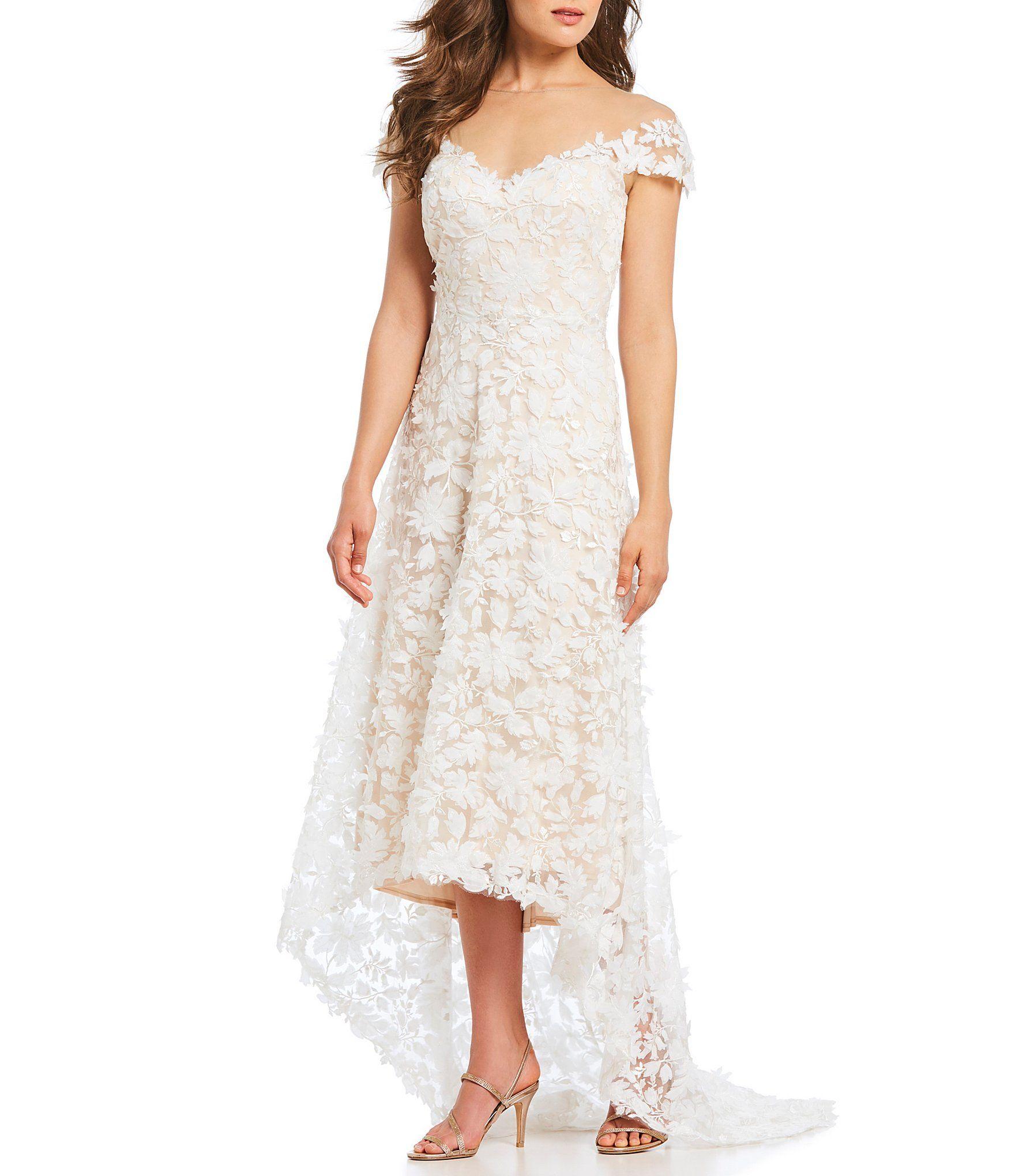Tadashi Shoji Illusion Yoke Hi Lo Gown Dillards Dresses Wedding Dress Suit Hi Low Dresses