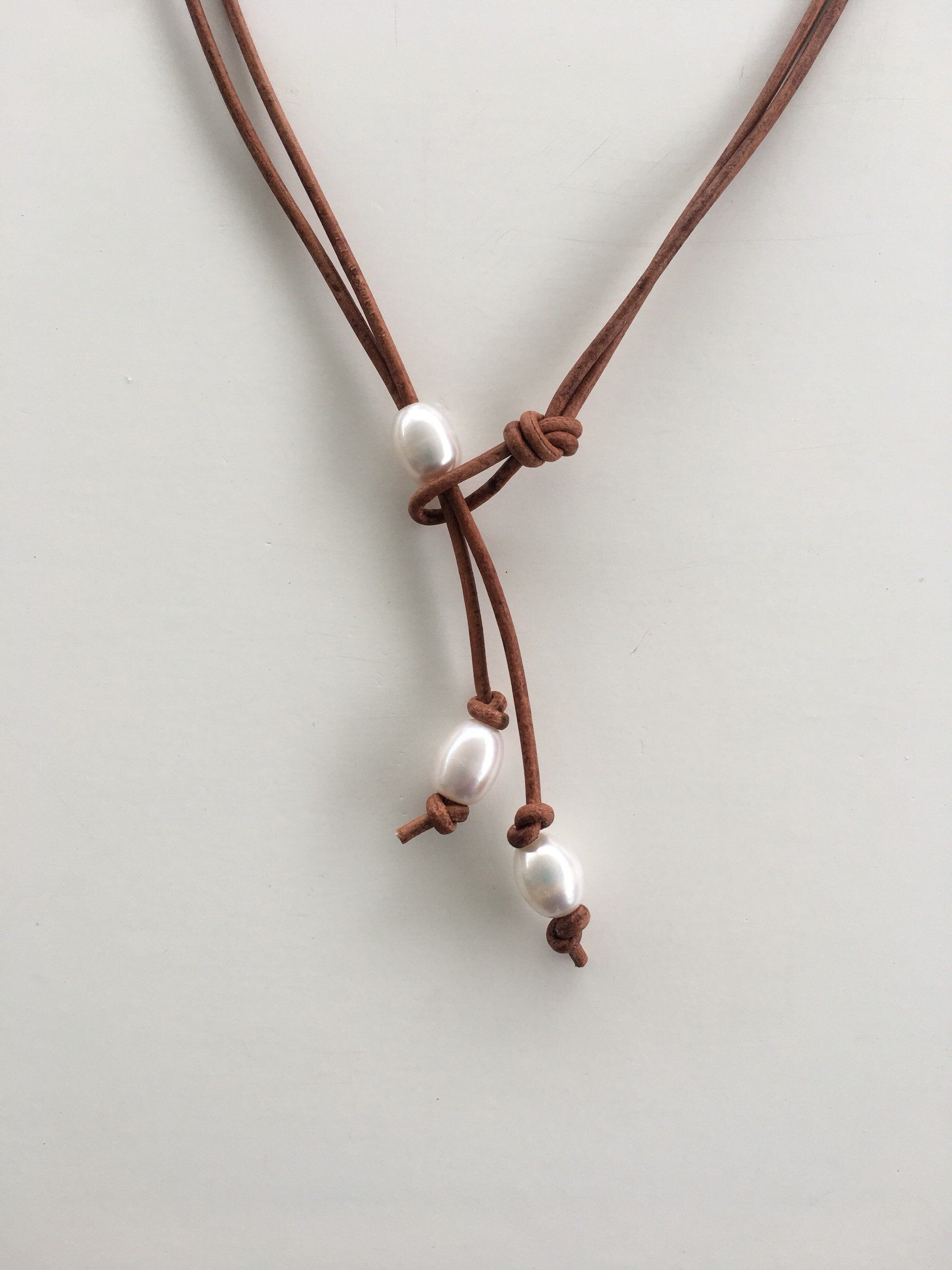 Set of 2 Pearl and leather necklace Pearl And leather beach style Pearl and leather lariat,boho style necklace beach necklace Pearl cord