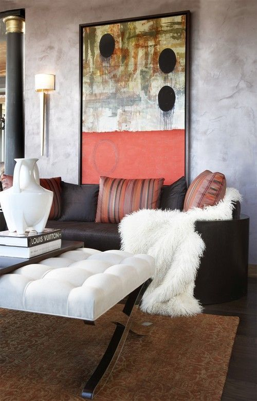 Design Inspiration: Think Big Picture: 6 Reasons To Love Oversized Art.  Modern Living RoomsCozy ...