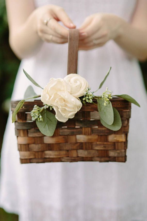 Gift Proposal Flower Girl Baskets Burlap Basket Rustic Wedding Basket Wedding Baskets Rustic Flower Girl Basket