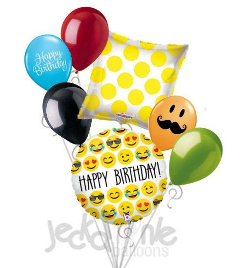 Included In This Bouquet 7 Balloons Total 1 18 Happy Birthday Emoji Round Balloon Yellow Polka Dots On Clear Square 5