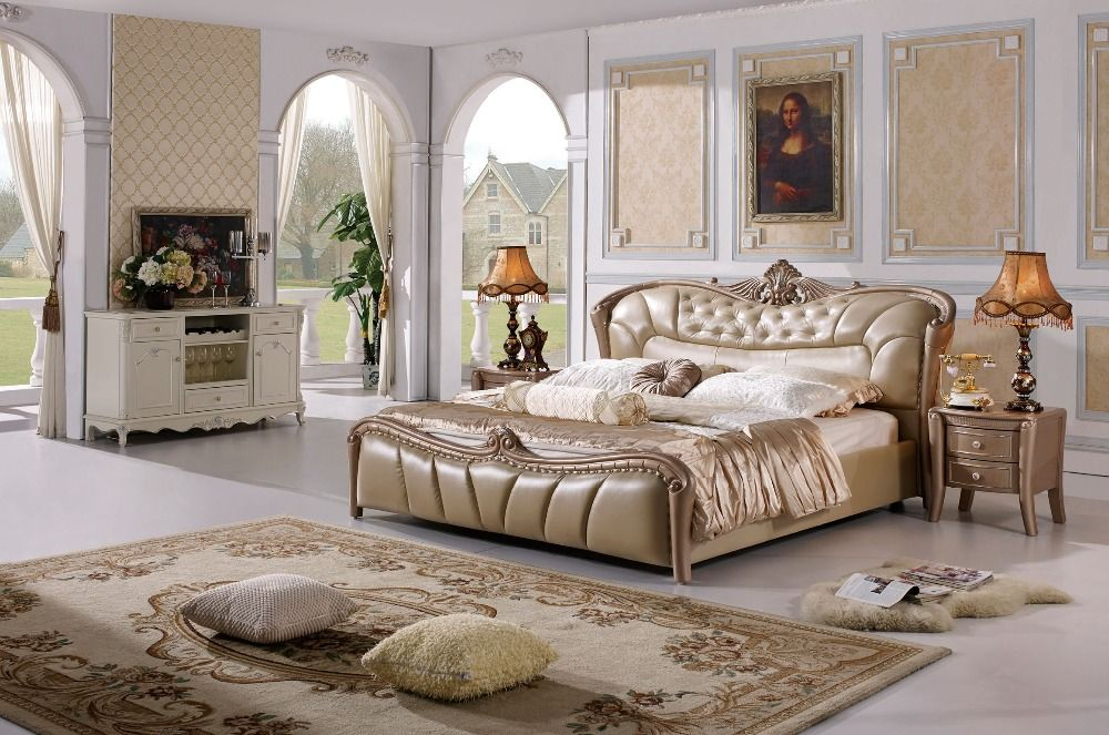 The modern designer leather soft bed / large double bedroom