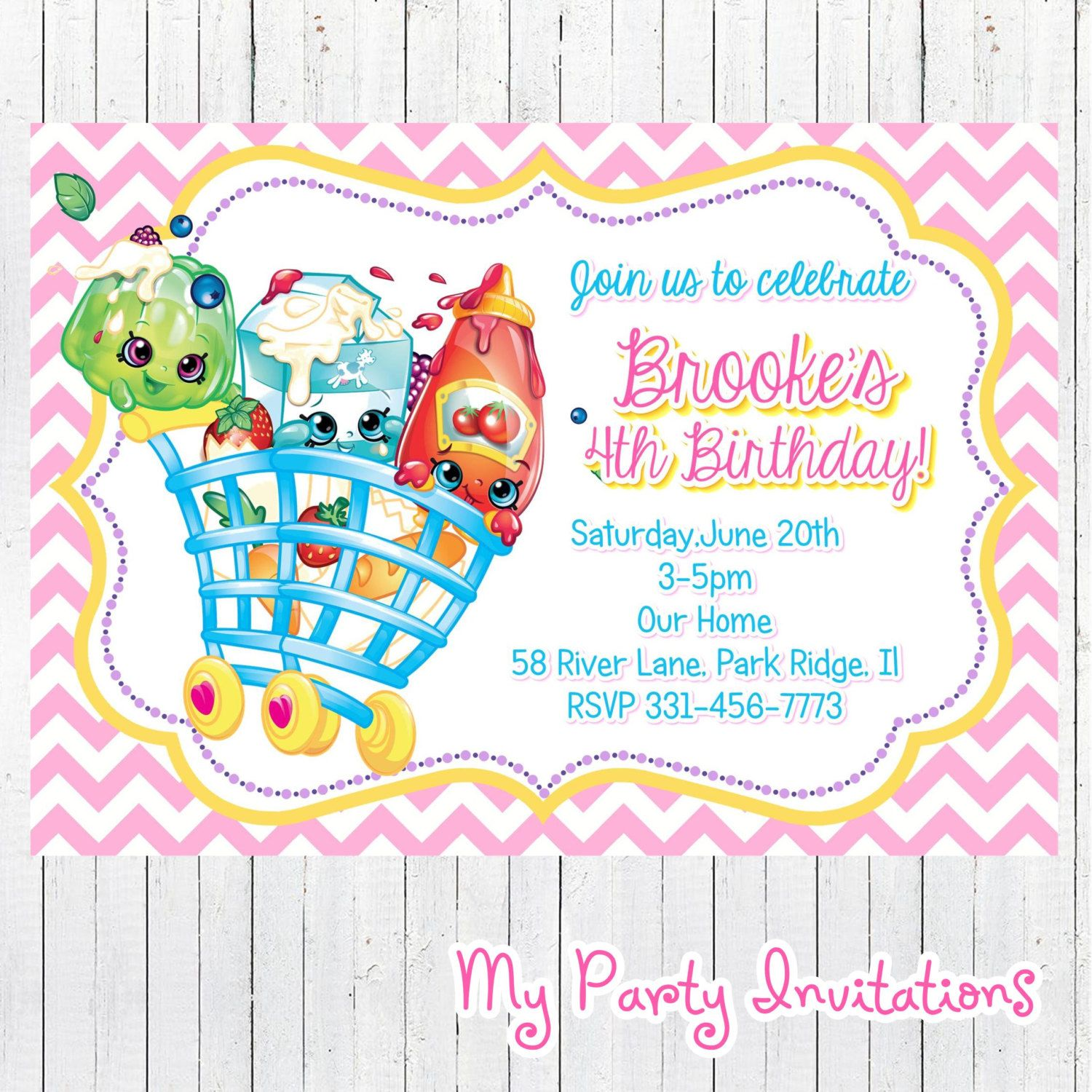 Shopkins Birthday Invitation, Printable, Shopkins Birthday Party ...