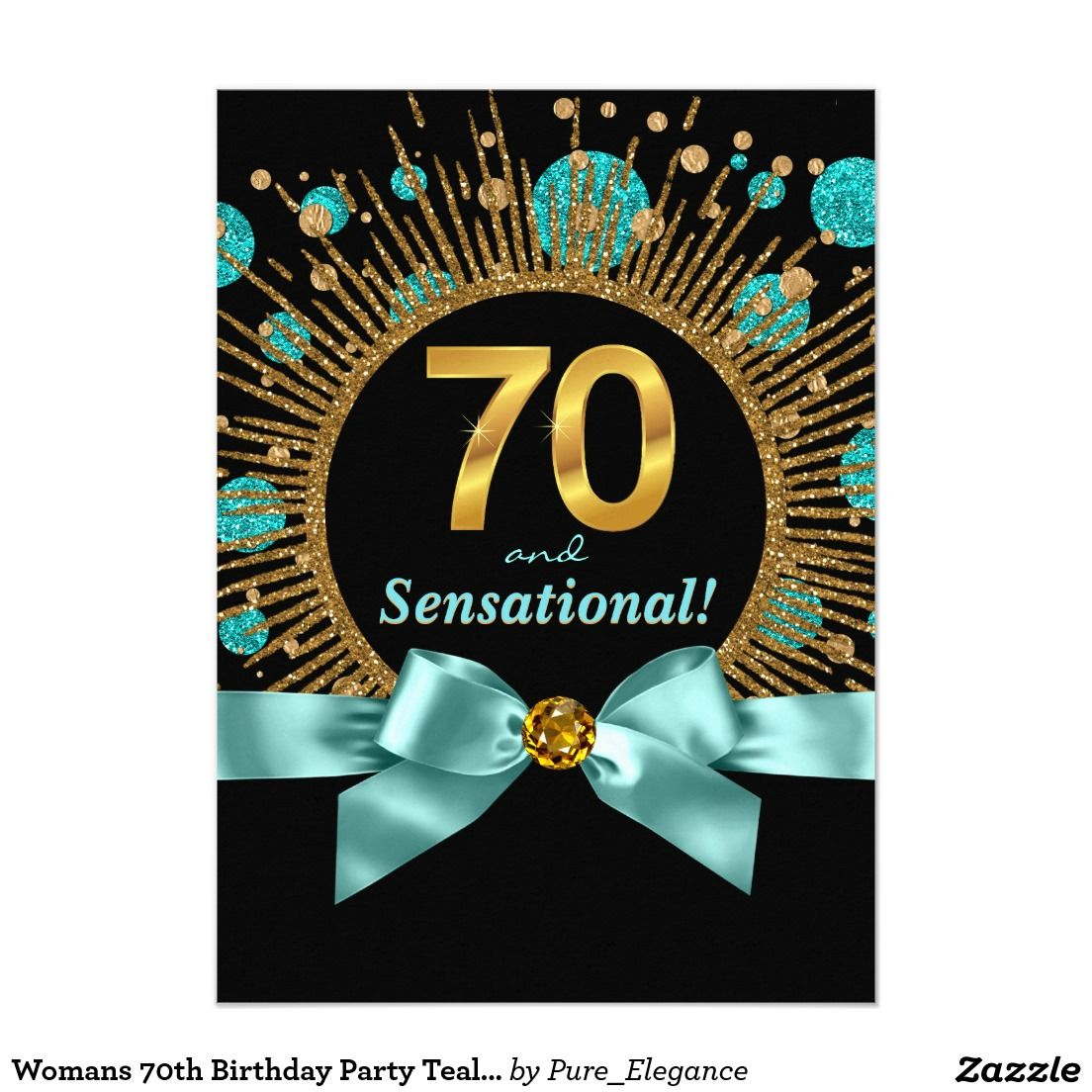 womans 70th birthday party teal blue and gold card  u2026