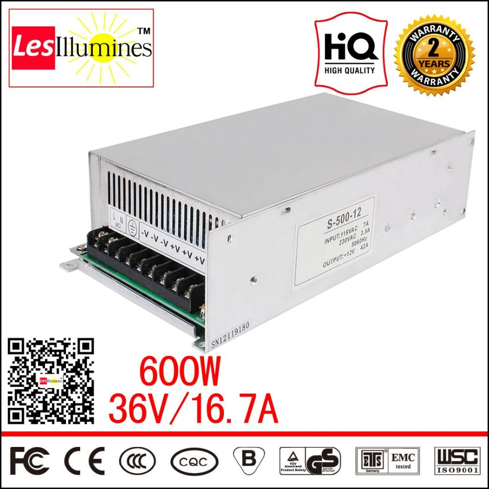 S-600-36 High Power SMPS AC-DC 220V 36V 15A CNC LED Driver Supply CE ...