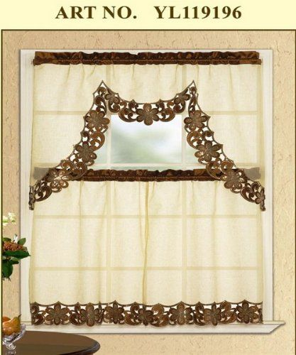 Amazing 3 Piece Taupe With Brown Embroidered Sparkle Lace Kitchen/cafe Curtain Tier  And Swag Set