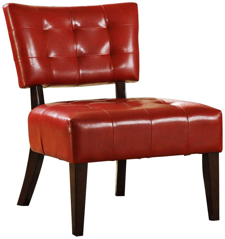 Homebelle Red Faux Leather Accent Chair Tufted Accent Chair